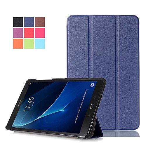 DETUOSI Samsung Galaxy Tab A 10.1 Schutzhülle - Ultra Slim PU Leder Tasche Hülle für Samsung Galaxy Tab A (2016) SM-T580N/T585N 25,54 cm (10,1 Zoll) Smart Cover case mit Standfunktion (Dunkelblau)