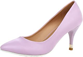 VogueZone009 Women's Microfiber Pointed-Toe Kitten-Heels Pumps-Shoes