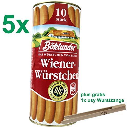 Böklunder Wiener Würstchen GASTROPACK (5x900g Konserve) = 50 Würstchen und usy Wurstzange