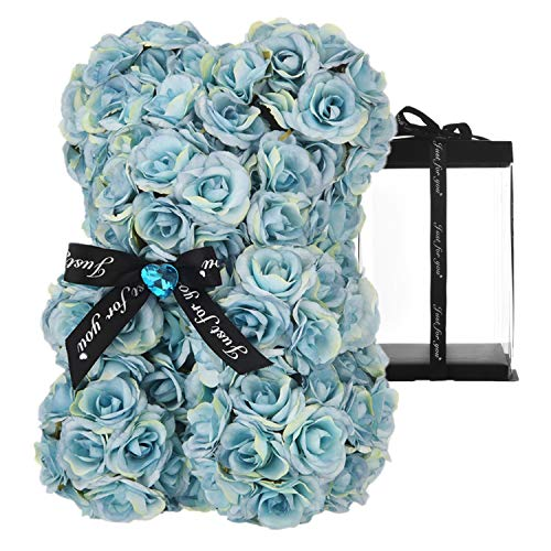 TTLY Teddy Silk Rose Bear,Rose Bear,Gifts for Birthday, Box for Birthday, Suitable for Valentine's Day, Wedding Anniversary, Mother's Birthday, Christmas and Birthday Gifts, Gift Box (Blue)