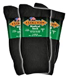 Extra Wide Men's Black Medical (Diabetic) Mid Calf Crew Sock, Shoe Size 11-16 Up to 6E Wide 3PK, Antimicrobial, Made