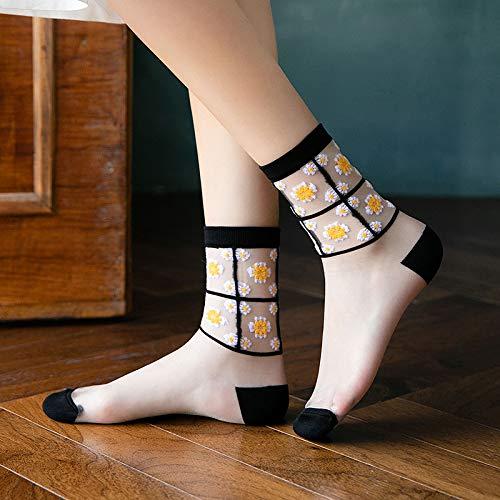 CYMTZ 5 Pares/Paquete Calcetines Transparentes De Vidrio Fino De Verano para Mujer Calcetines De Encaje De Algodón con Margaritas para Mujer Negro