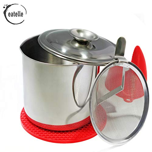 eatelle Cooking Oil Container and Bacon Grease Keeper with Strainer, Stainless Steel Frying Oil Storage Can - Fat Jar 1.25 Quart - 5 Cups, Food Strainer and Oil Separator + Red Silicone Mitt and Mat