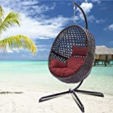 Luxury Large Egg Swing Chair with Stand Rattan Wicker Outdoor Porch Swing Ox Eye Woved Modern Hanging Egg Chair Heavy Duty Hanging Egg Swing Chair for Outdoor Patio Balcony Garden Decoration (Brown )