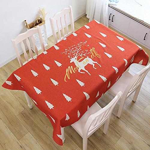 FGHOMEAQZB Dickes Pfund Baumwolle Leinen Liebe Tischdecke Wohnzimmer Esstisch Tischdecke Abdeckung Tuch @ Deer in Action_100 * 140cm