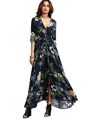 Milumia Women's Button Up Split Floral Print Flowy Party Maxi Dress Navy Blue XX-Large