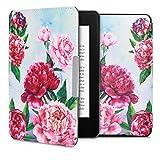 kwmobile Amazon Kindle Paperwhite Hülle - Kunstleder eReader Schutzhülle Cover Case für Amazon Kindle Paperwhite (für Modelle bis 2017) - Blumen Mix Pfingstrosen Design Violett Rosa Hellblau