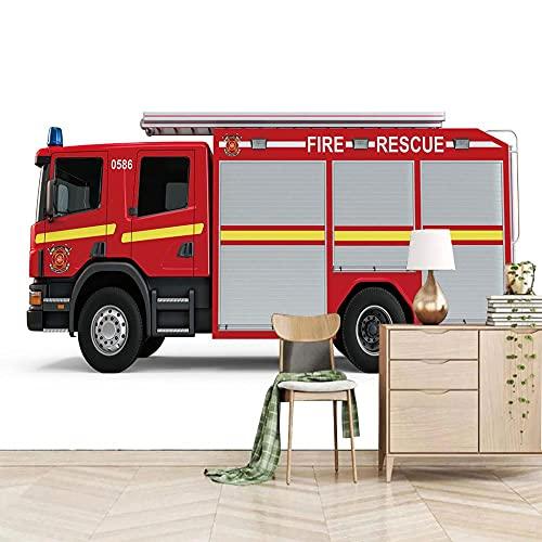 Fotomurales Decorativos Camión de bomberos 200CM x 175CM Papel Pintado Pared 3D Póster Sala de Estar Dormitorio TV Fondo
