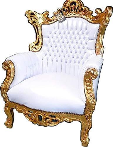Casa Padrino Barock Sessel Al Capone Weiß/Gold - Antik Stil Wohnzimmermöbel
