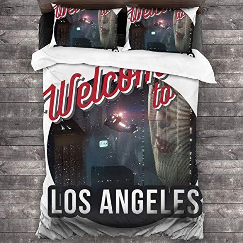 KUKHKU Welcome to Los Angeles Blade Runner Juego de cama de 3 piezas, funda de edredón de 86 x 70 pulgadas, decorativa de 3 piezas con 2 fundas de almohada