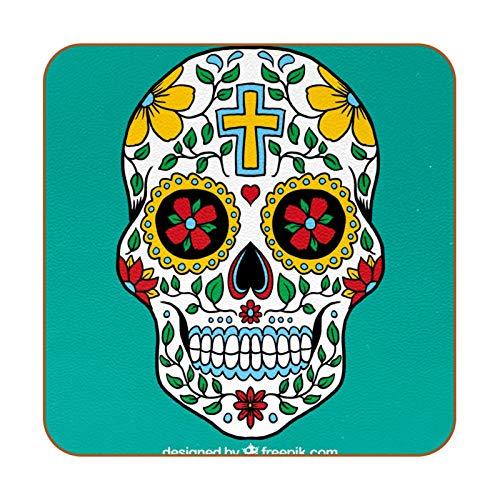 Posavasos de piel sintética con diseño de calavera de flores mexicanas para bebidas, paquete de 6 posavasos cuadrados para bebidas para el hogar o el bar, regalo de inauguración de la casa