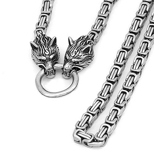 COZYJIA Collar con Colgante de Cabeza de Lobo de Acero Inoxidable para Hombre Noruego, Collar con Colgante de Amuleto, Collar escandinavo, Colgante de Runa vikinga (Color : Silver, Size : 90CM)