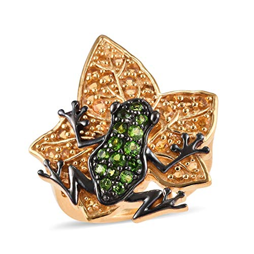 GP Diopside Frog on Maple Leaf Ring for Women in 14ct Gold Plated 925 Sterling Silver with Citrine, Blue Sapphire Size N, 1 Ct
