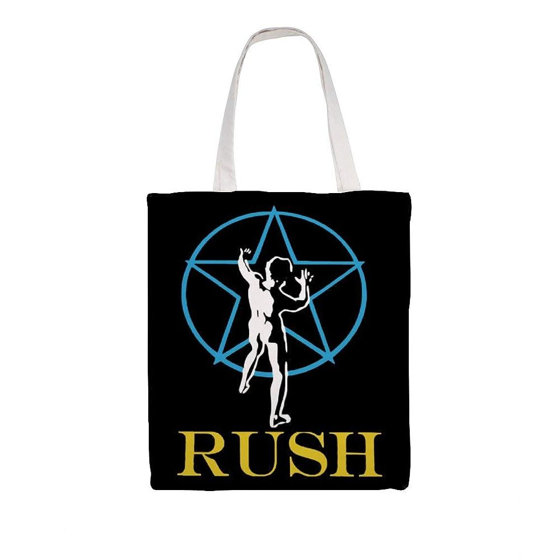 餌三角形森林ズックバッグ トートバッグ 手提げ袋 大容量 ショルダー 買い物 旅行 質感 収納便利 耐久性 人気 おしゃれ 軽量 鞄 Rush Logo 38*41cm