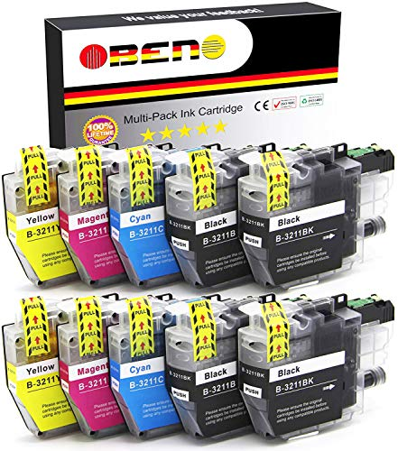 OBENO – 2 Satzs 2 BK– LC3211 LC3213 10 Packs Tintenpatronen für Brother LC3211 MFC-J890DW, MFC-J895DW, DCP-J772DW, DCP-J774DW, DCP-J572DW (4 Schwarz, 2 Cyan, 2 Magenta, 2 Gelb)