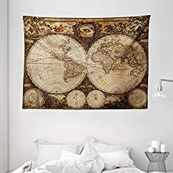 Ambesonne World Map Tapestry, Old World Map Drawn in 1720s Nostalgic Style Art Historical Atlas Vintage Design, Wide Wall Hanging for Bedroom Living Room Dorm, 80 X 60, Pale Brown