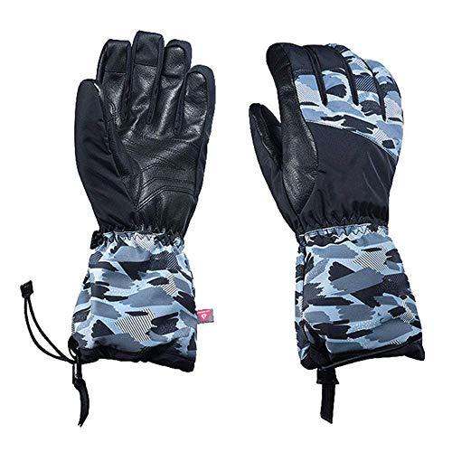 Handschuhe für Herren und Damen, Winter, kalt, warm, doppelt, Snowboard, Reiten, Quilten, Touchscreen-Handschuhe, Lammfell, Reithandschuhe (Farbe: Blau, Größe: M) FDWFN (Farbe: Schwarz)