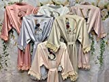 Personalized Bridesmaid Robes Lace Bridal Robe Customized Gift Floral Design Satin Kimono Robe Wedding Party Getting Ready Short Robe Bachelorette Party