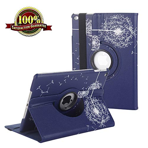 iPad 9.7 inch Case 2018 2017/ iPad Air Case - 360 Degree Rotating Stand Protective Cover Smart Case with Auto Sleep/Wake for Apple iPad 5th/6th Generation (Navy Blue Dandelion)