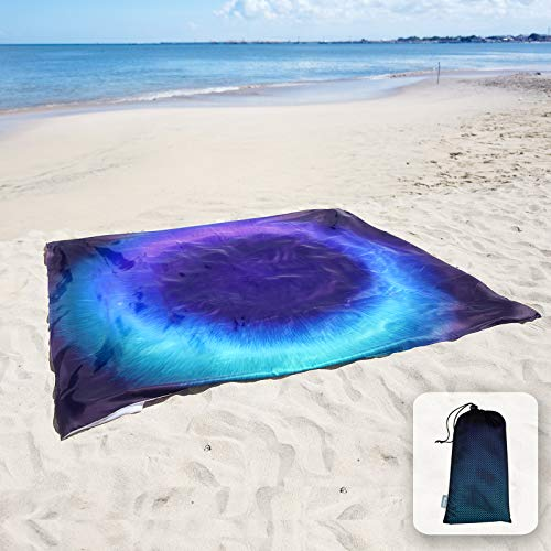 Sunlit Silky Soft 85x72 Sand Proof Beach Blanket Sand Proof Mat with Corner Pockets and Mesh Bag for Beach Party, Travel, Camping and Outdoor Music Festival, Dark Blue Ring, Black Hole