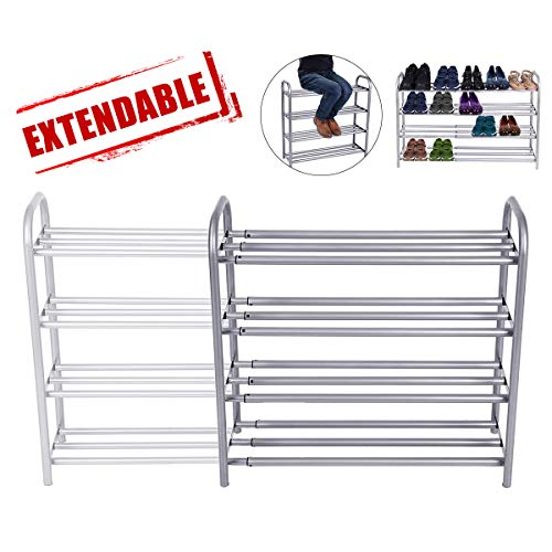 GEMITTO Meuble Chaussures, 4 Couches Robuste Porte-Chaussures, Extensible Étagère à Chaussures 60-106cm x 22.5cm x 61.5cm (Argent)