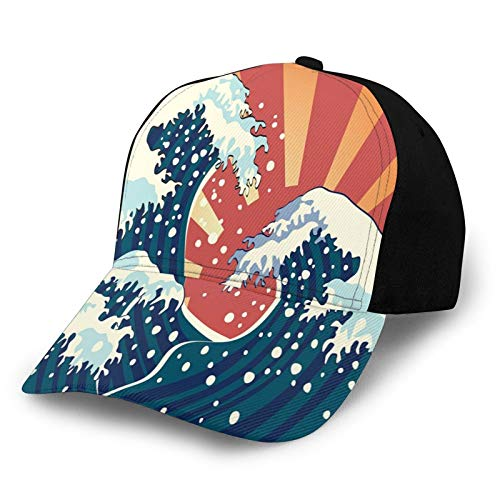 Gorra de béisbol lisa lavada, estilo de pintura japonesa, telón de fondo de temporada, surf, agua, abstracto, atardecer, retro, ajustable, regalo para hombres y mujeres