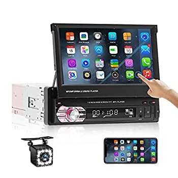 Car Stereo Single Din Touch Screen,in-Dash Head Unit 7 Inch Car Radio with Bluetooth Android/iOS Mirror Link,FM/SD/USB/AUX-in,Remote Control &12 Lights Backup Camera