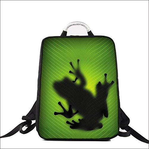 Luxburg Design Zaino per notebook multifunzionale per scuola, lavoro e tempo libero, per laptop fino a 17 pollici, Motivo: Rana silhouette
