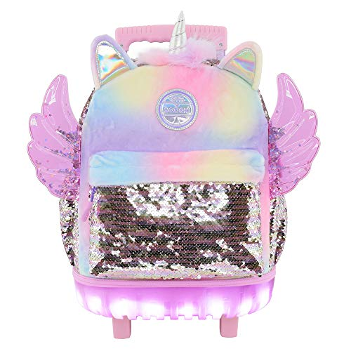 Mozioni Kids Fashion 18' Rolling Carry-on Backpack for Girls, School & Travel Luggage,Wings and silver sequin durable material
