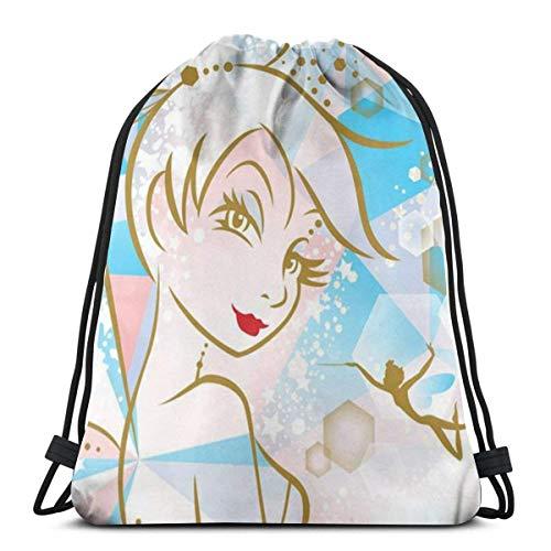 Tinkerbell and Fairy (52) clásico con cordón bolsa de gimnasio mochila hombre mujer deporte almacenamiento bolsa de hombro