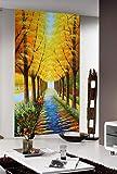 WFYY Árbol De La Fortuna Dorada Vinilos para Puertas, Avenida De Las Flores Mural Pared, Papel Pintado 88x200cm