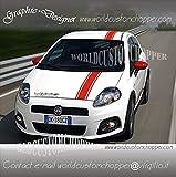 3 FASCE ADESIVE FIAT GRANDE PUNTO TETTO COFANO SPORT ABARTH EVO RACING TUNING (ROSSO)