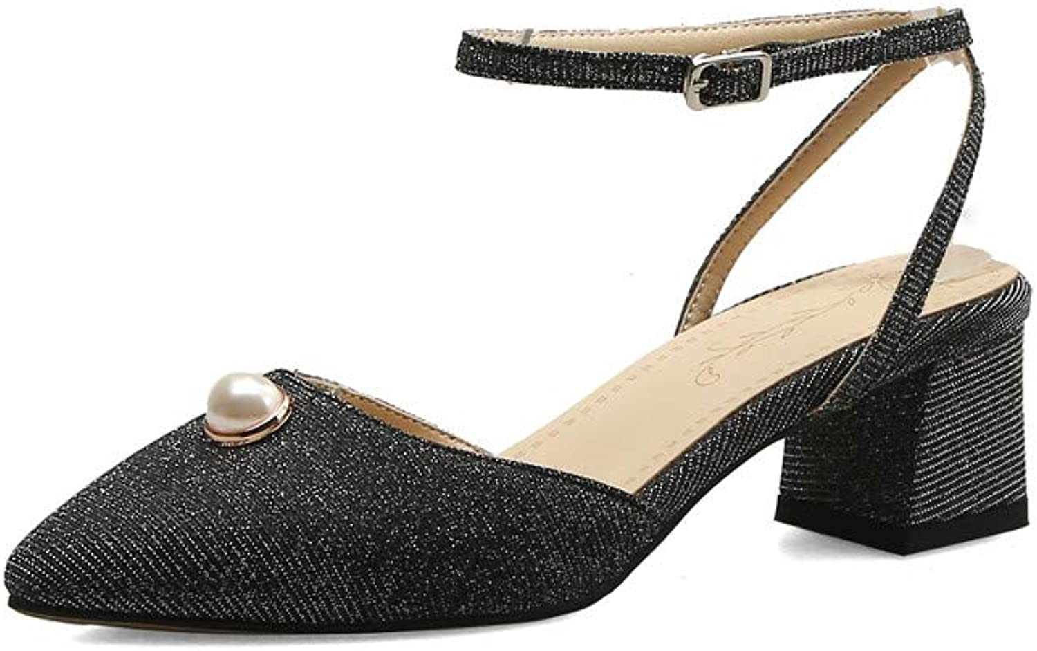 Nine Seven Sequins Leather Women's Square Toe Mid Chunky Heel Elegant Handmade Concise Buckle Ankle Strap Fashion Women Pumps with Pearl