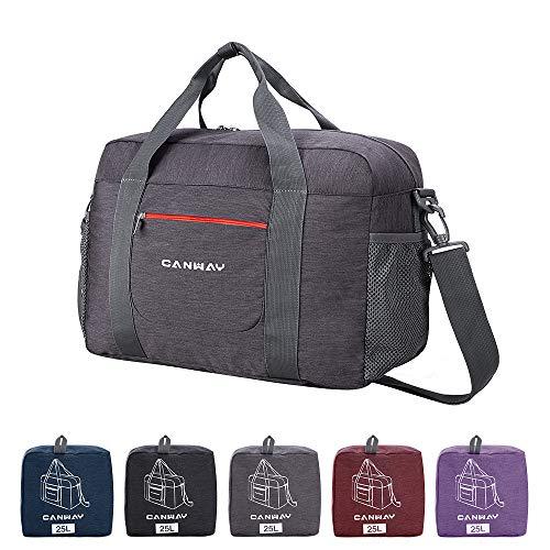 CANWAY Reisetasche Duffel Leichtgewicht Faltbar Handgepäck Sporttasche Einkaufstasche Freizeittasche Weekender für Männer und Frauen Ferien Urlaub (Grau, 25L)