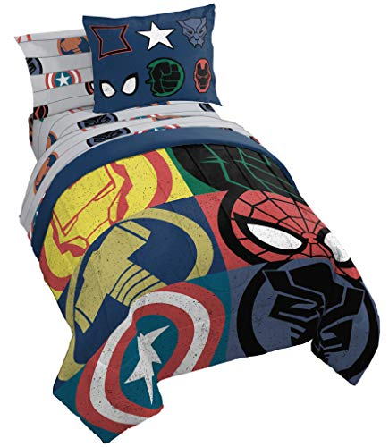 Jay Franco Marvel Emblems 7 Piece Full Bed Set - Includes Comforter & Sheet Set - Bedding Features The Avengers - Super Soft Fade Resistant Microfiber (Official Marvel Product)