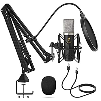 Condenser Microphone 192kHz/24Bit TONOR USB Cardioid Computer Mic Kit with Upgraded Boom Arm/Spider Shock Mount for Recording Streaming Gaming Podcasting Voice Over YouTube TC-2030