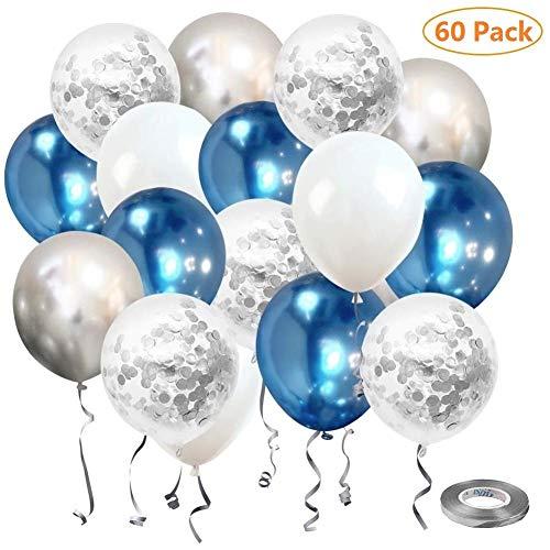 Sinwind Luftballons Silber, 60 Stück Luftballons Silber Konfetti, Luftballons Blau Weiß, Hochzeit Hochzeitsballons, Helium Balloons, 12 Zoll Latex Luftballons für Geburtstag Hochzeit Taufe