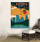 UDIYXC Vintage Atlanta Poster Leinwanddruck Wandkunst