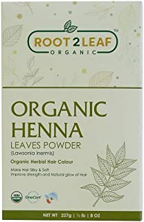 Sponsored Ad - Root2Leaf Organic and Pure Henna Powder/Lawsonia Inermis 227 gms (1/2 LB) for Hair, USDA certified Henna Po...