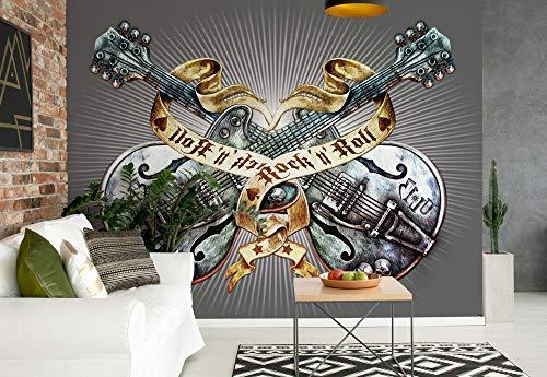 Gitarren Rock Roll Heavy Metal - Wallsticker Warehouse - Fototapete - Tapete - Fotomural - Mural Wandbild - (1083WM) - XXXL - 416cm x 254cm - VLIES (EasyInstall) - 4 Pieces