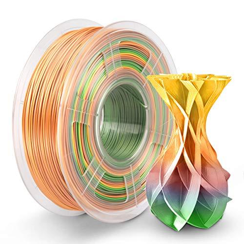 Silk Rainbow PLA Filament 1.75mm 1KG, Shiny Silk Rainbow 3D Printing Filament, Shiny Rainbow