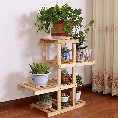 LLLXUHA En bois 4ème étage Assemblée Support de fleurs, Simple balcon Présentoir, intérieur étude Étagère de rangement , Primary Color