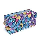 Estuche de mármol para niñas y niños especial con cremallera grande cartera de almacenamiento de cosméticos bolsa de cosméticos estuche escolar suministros de papelería mariposa azul