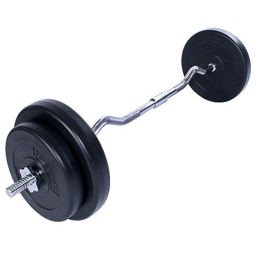 Physionics® - HSTA22 - Barra de pesas Curl 30 kg - 4 discos incluidos