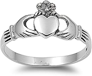Sterling Silver Women's Claddagh Heart Hand Ring Cute 925 Band 9mm Sizes 2-14