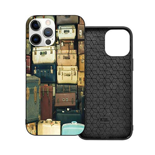 Shockproof Case For Iphone 12 Series, Theme Adopt - Vintage Decor Collection Colorful Vintage Suitcase Antique Leather Decorative Travel Gift Map Nostalgia Brown Cream Green