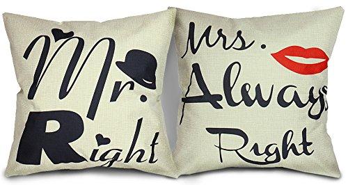Luxbon 2X Kissenbezüge Mr Right Mrs Always Right dauerhaft Leinen Sofakissen Lendenkissen Cafe Haus Hochzeit Valentinstag Deko 45 x 45 cm