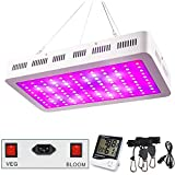1200W LED Plant Grow Light, WAKYME Adjustable Full Spectrum Double Switch Plant Light with Thermometer Humidity Monitor & Powerful Heat Dissipation System for Indoor Plants Veg and Flower(120Pcs LEDs)