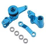 Hobbypark Aluminum Steering Bellcranks and Drag Link Servo Saver Complete for 1/10 Traxxas Slash 4x4 Hop Up Parts Blue