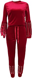 OLUOLIN Womens Two Pieces Velour Outfit Crew Neck Pullover Tracksuit Casual Sweatsuits Set